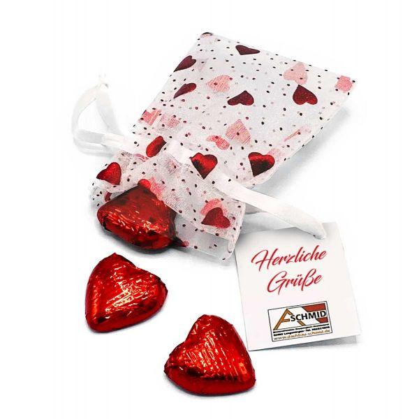 Organzasäckchen Heart mit Schokoherzen   4c-Grußkarte