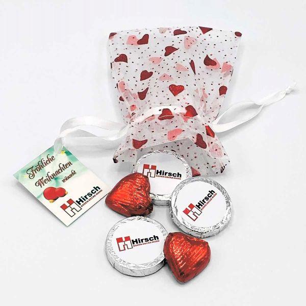 Organzasäckchen Your Heart | indiv. Taleretiketten+Herzen | 4c-Grußkarte