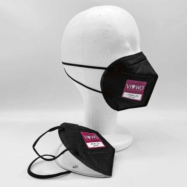 Mund-/Nasenbedeckung | FFP2 Print Full Colour | CE2163 | schwarz