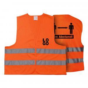 Warnweste 2 Meter Abstand - Mit eigenem Logo vorne